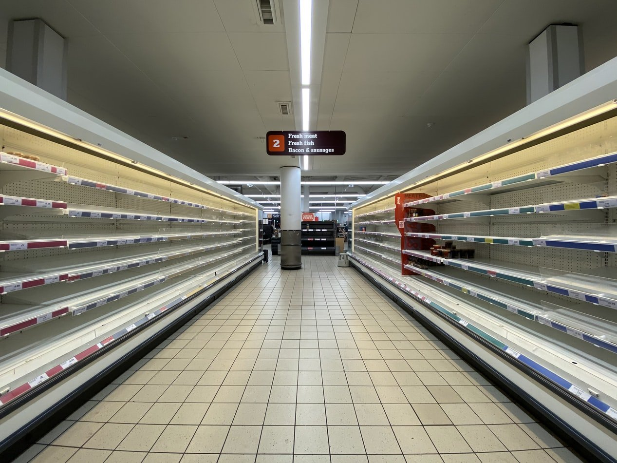 a super market with nothing on the shelves